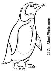 Emperor penguin, contours - Antarctic emperor penguin, black...