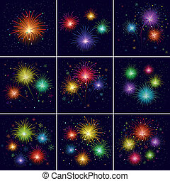 Fireworks, set - Set of various celebratory firework against...