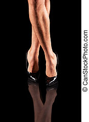 sexy mens legs in patent-leather shoes - sexy mens legs in...