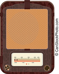 Vector illustration of an old radio  in a wooden case