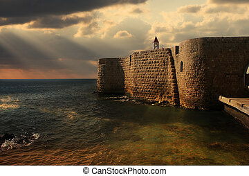 Ancient walls of Acre, Israel. - View on Mediterranean sea...