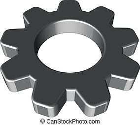 3D cogwheel - 3D rounded steel cogwheel on white background