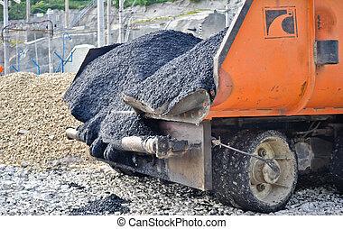asphalt paver machine closeup