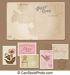 Vintage Postcard and Postage Stamps - for wedding design,...