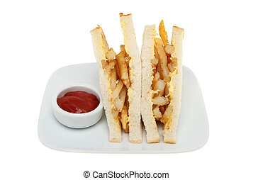 Chip sandwich - Potato chip sandwich with tomato sauce on a...
