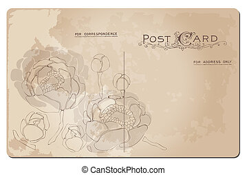 Antique postcard with Lily flower design in vector