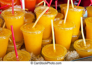 Cold wet freshly squeezed orange juice - Cold wet freshly...