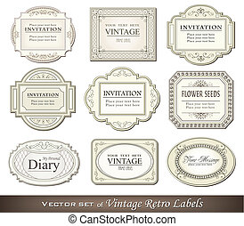 Vintage retro labels - Vector illustration of vintage retro...
