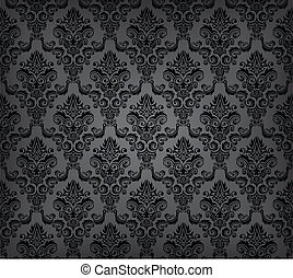 Black seamless wallpaper pattern - Vector illustration of...
