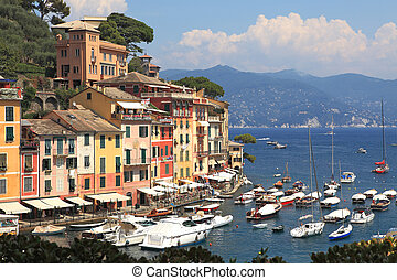 View on Portofino, Italy - View on famous town of Portofino...