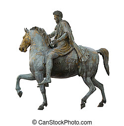 constantine emperor isolated on white riding a horse