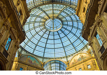 Galleria Vittorio Emanuele, Milan, Italy - Glass dome of...
