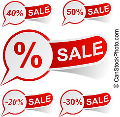 SALE red tags. - Vector illustration of sale sticky labels.