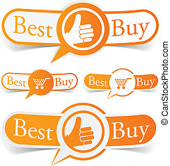 Best buy orange tags - Vector illustratin of Best buy sticky...