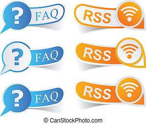 FAQ  - Vector illustratin of faq and rss sticky labels.
