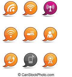 Communication comics. - Communication set of round glossy...