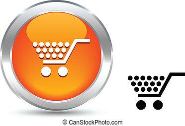 Shopping button. - Shopping realistic button. Vector...