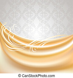 Beige curtain, silk tissue on gray background with ornament