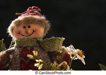 navidad, Plano de fondo, alegre, Snowman