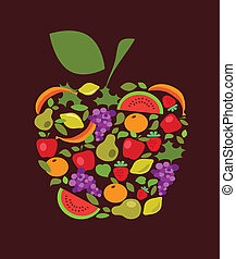 apple with fruits and vegetables pattern