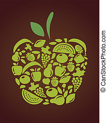 apple with fruits and vegetables pattern , vector...