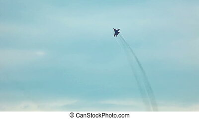 jet fighter fly in sky during air show - ZHUKOVSKY, RUSSIA -...
