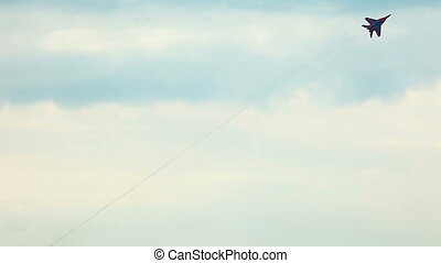 Fighter fly out in cloudy sky - ZHUKOVSKY, RUSSIA - AUGUST...