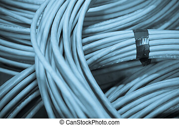 network cables - big bunch of blue network cable