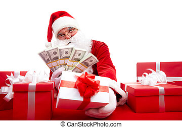 Selling gifts - Photo of happy Santa Claus selling Christmas...