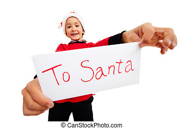 Christmas letter - Happy lad holding letter with note ?To...
