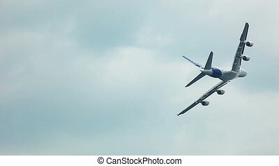 Aircraft fly in the sky during air show - ZHUKOVSKY, RUSSIA...