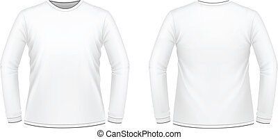 White long-sleeved T-shirt - Vector illustration of white...