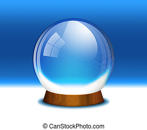 Empty snow globe (crystal sphere) - A raster illustration of...