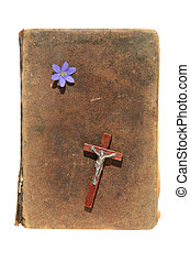 isolated old Bible cover