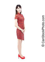 Chinese  woman with traditional clothing  cheongsam and isolated on white
