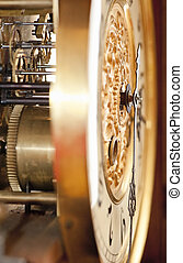 Old-Fashioned clock showing the clockwork