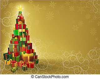 Christmas background with gifts tree