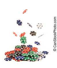 Bunch of falling casino chips on white
