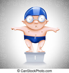 Swimmer on starting block - Little Swimmer on starting block...