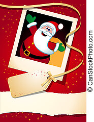 Christmas funny background with Santa, vector