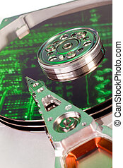 hard drive internals - close up of hard disk with abstract...