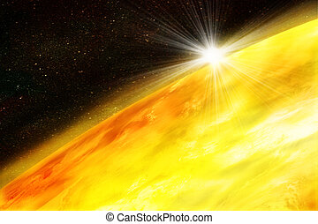 illustration of the sun in space