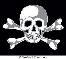 Jolly Roger - Skull and two bones on black. Vector. Separate...