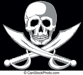 Jolly Roger - Skull and two pirate swords on black Vector...