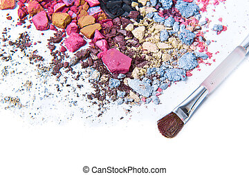 crushed eyeshadow - eyeshadow mix with brush on white...