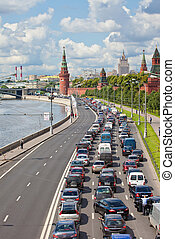 Moscow. A jam on a highway. - Russia. Moscow. A jam on a...