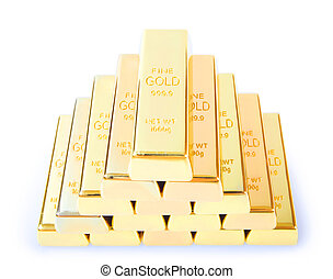 ingots of gold combined by a pyramid