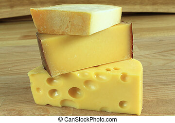 Hard cheese - Cheese plate - various types of hard cheese...