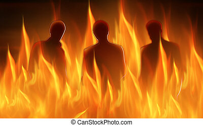 hell abstract - abstract lighted silhouettes of three...
