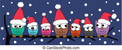 christmas header with colorful owls